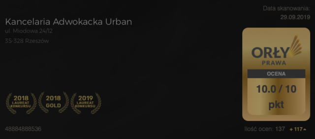 wygrana wkonkursie adwokat zRzeszowa Kancelaria Adwokacka Urban kategoria najlepsza kancelaria