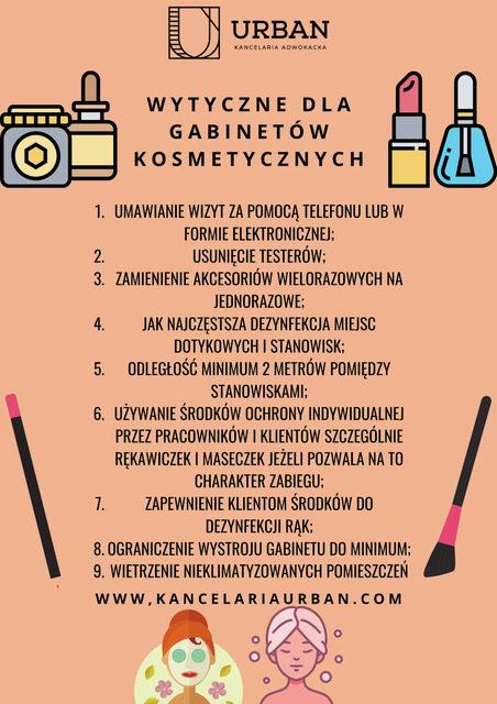 Wytyczne przepisów epidemiologicznych dla kosmetyczek wdobie koronawirusa sars-cov-2 wplanszach