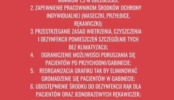 Zasady otwierania gabinetów rehabilitacji w czasie pandemii Sars-CoC-2 w planszach